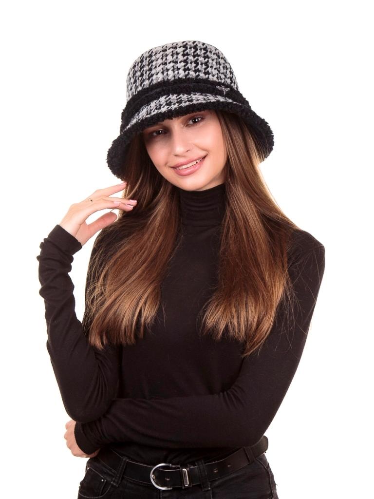 1 Эдита муха шляпка пье-де-пуль+экомех керли черно-белый+черный