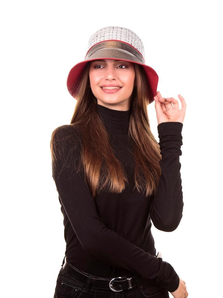 1 Илона кант шляпка букле клетка+эколак+экокожа белый жемчуг+золотистый перламутр+красный