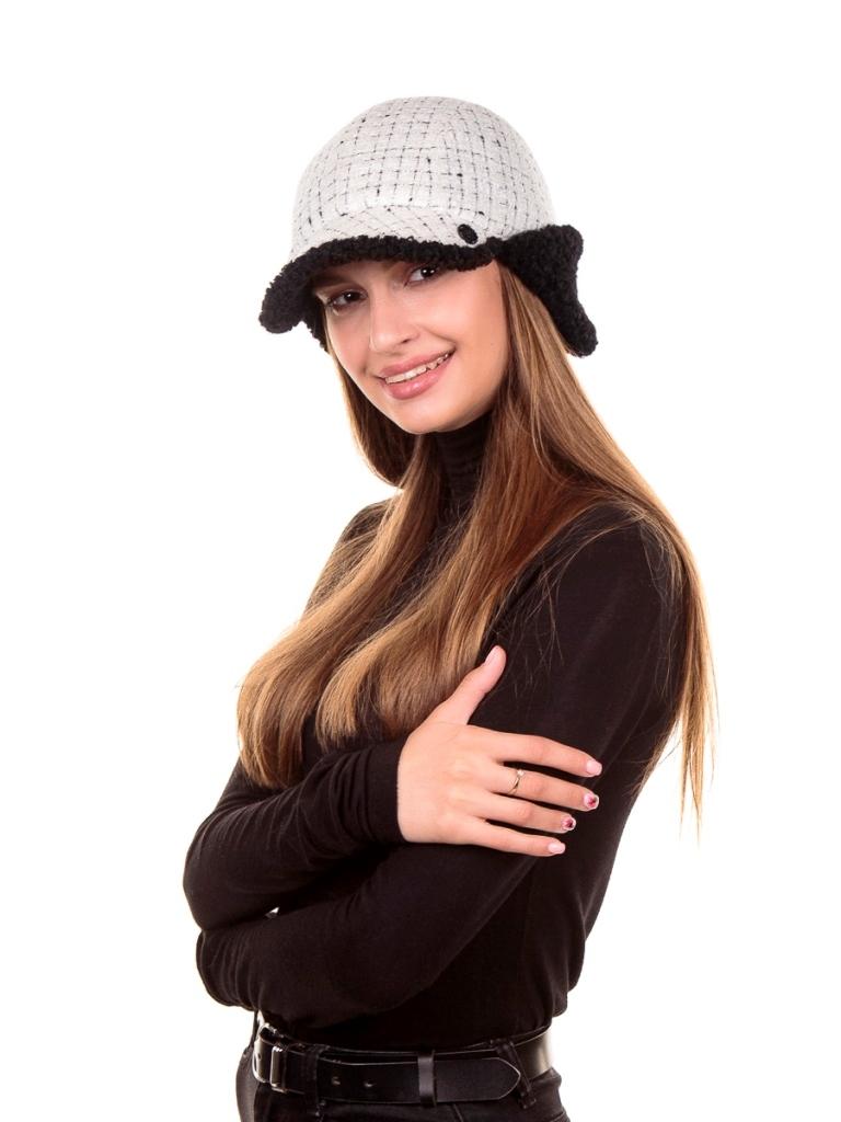 1 Римма Ушанка-бомбер букле клетка+экомех Керли белый жемчуг+черный