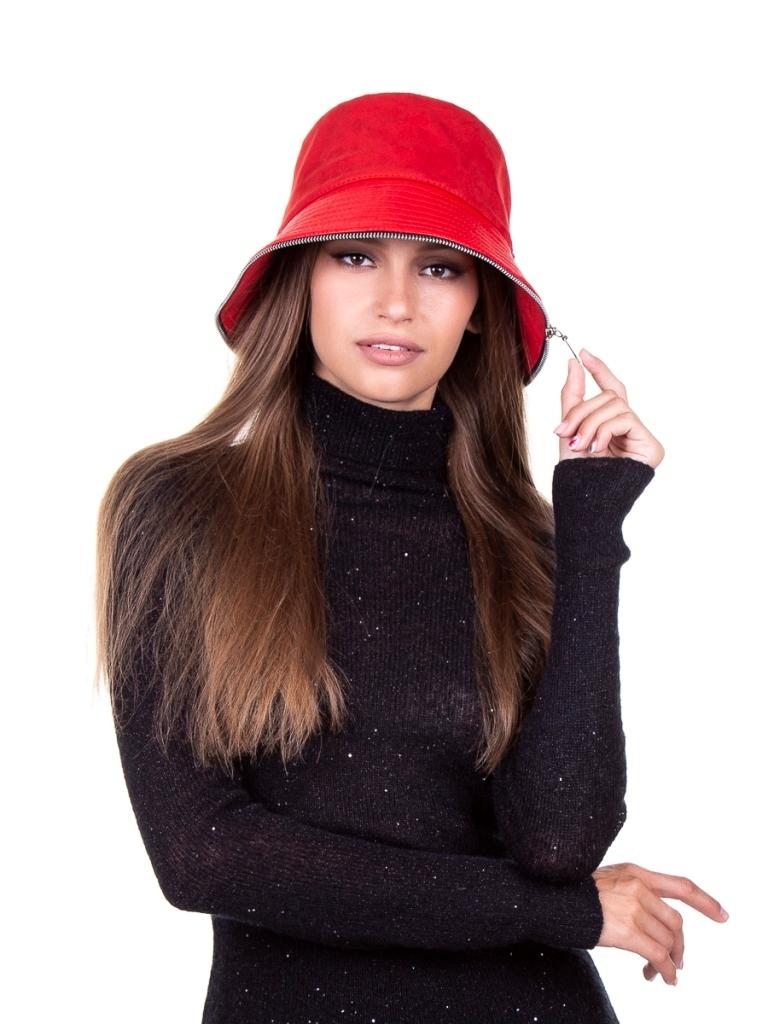1 Рокси шляпка экозамша+эколак или экокожа красный